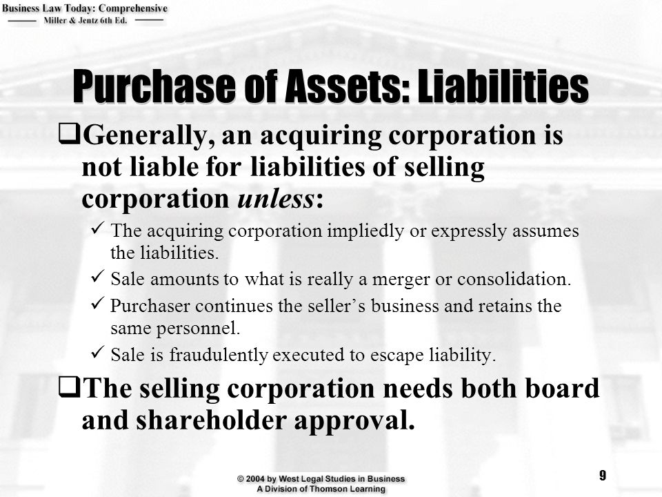 Purchase of Assets: Liabilities
