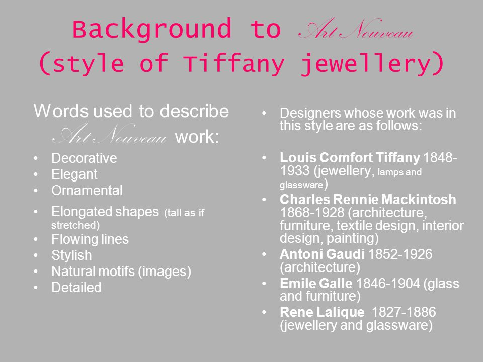 Background To Art Nouveau Style Of Tiffany Jewellery
