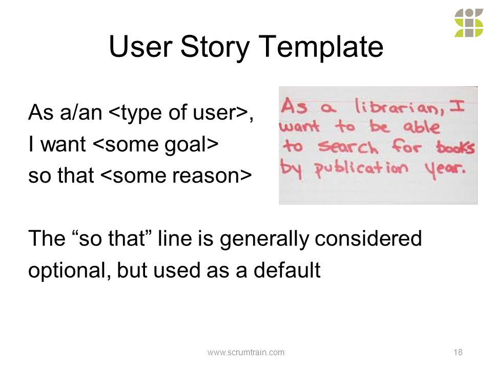 as a user i want user story template - scrum is honesty visibility common sense jens ostergaard
