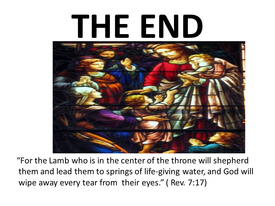 THE END For the Lamb who is in the center of the throne will shepherd