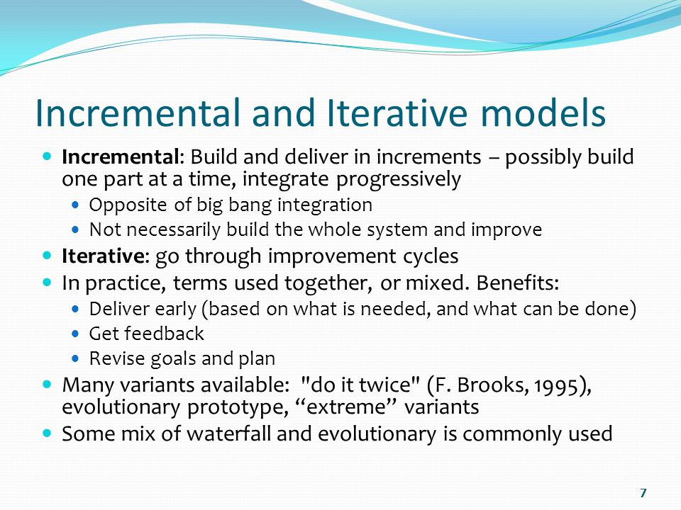 iterative and incremental development of software models Incremental model is a type of software development model like v-model,  what is iterative model- advantages, disadvantages and when to use it  what are the.