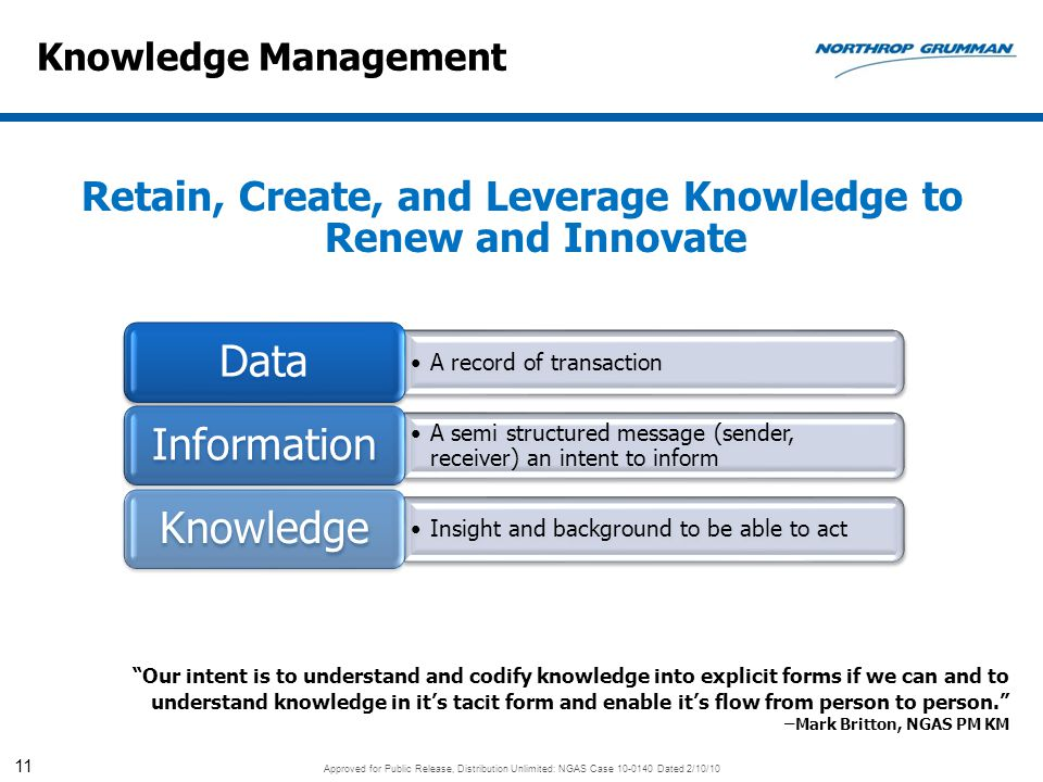 Retain, Create, and Leverage Knowledge to Renew and Innovate