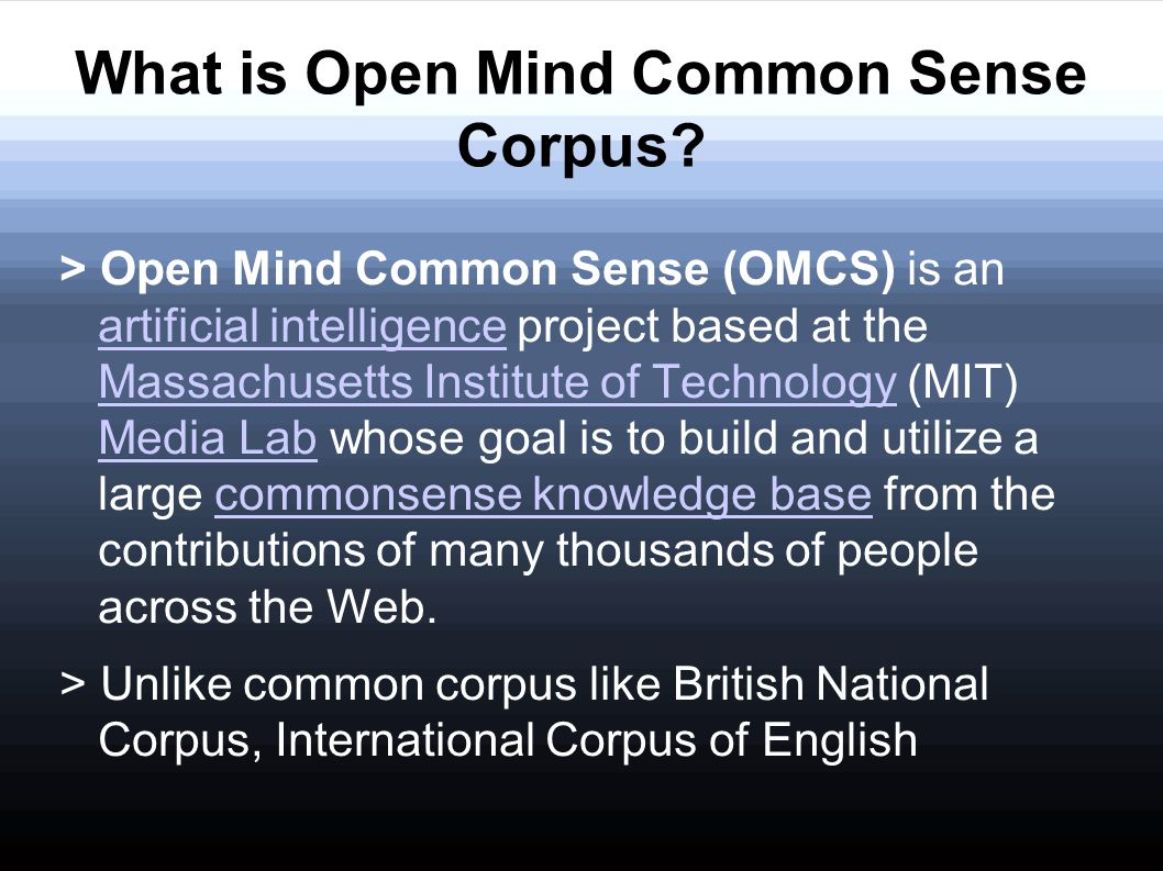 What is Open Mind Common Sense Corpus