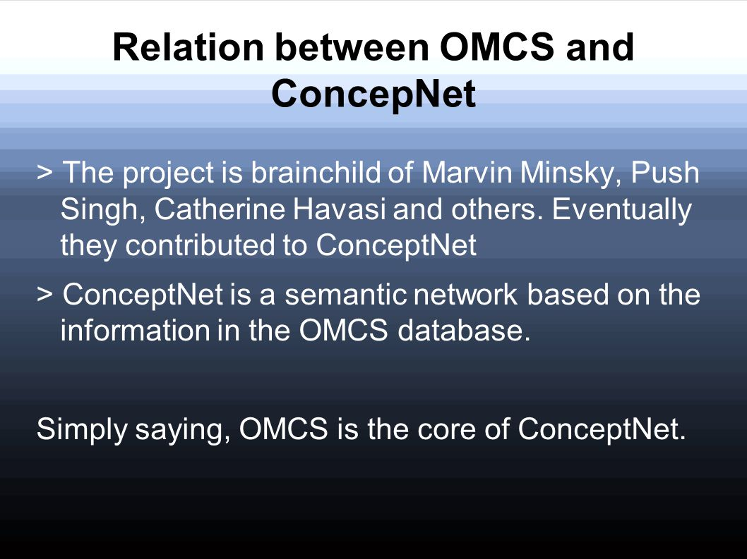 Relation between OMCS and ConcepNet