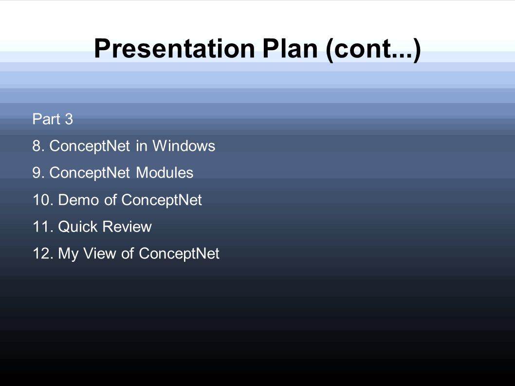 Presentation Plan (cont...)