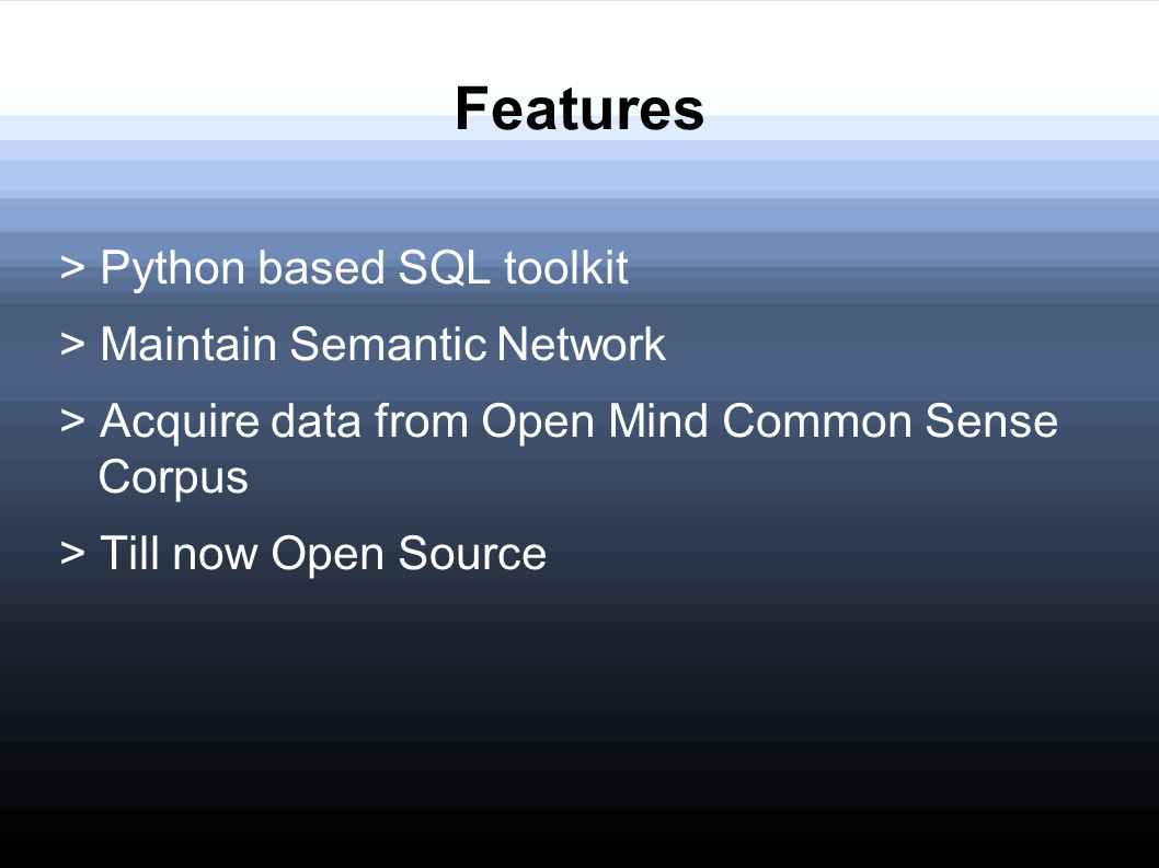 Features > Python based SQL toolkit > Maintain Semantic Network