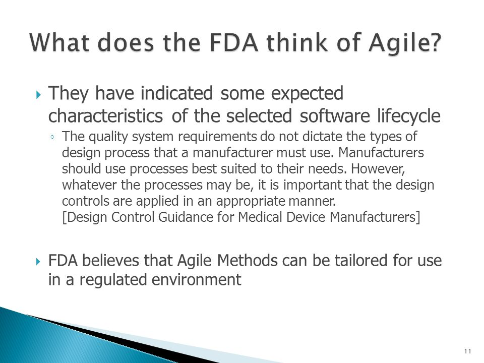 What does the FDA think of Agile