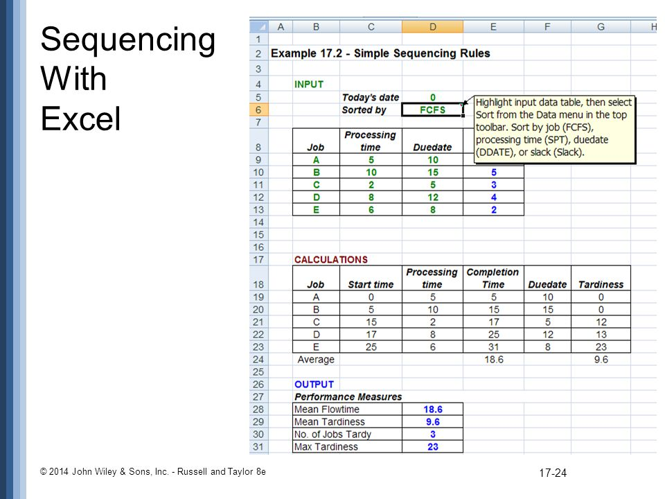 Sequencing With Excel © 2014 John Wiley & Sons, Inc. - Russell and Taylor 8e