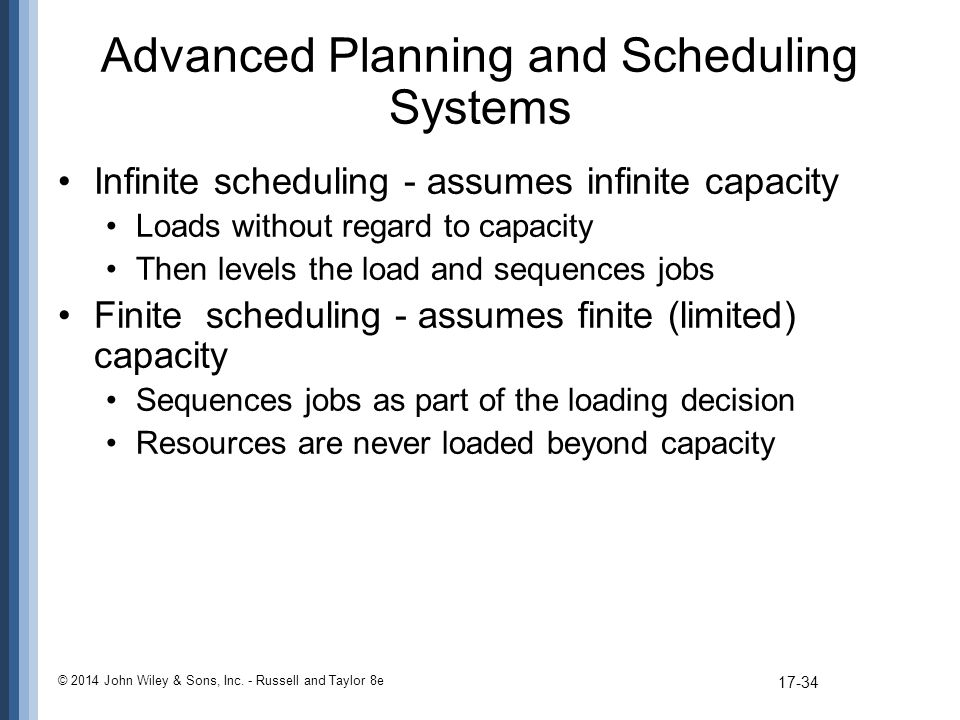 Advanced Planning and Scheduling Systems