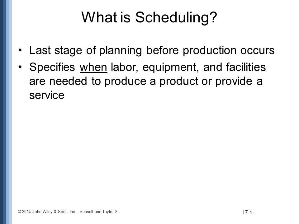 What is Scheduling Last stage of planning before production occurs