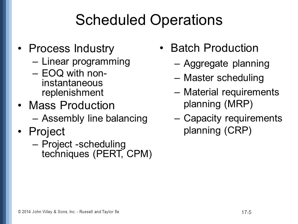 Scheduled Operations Batch Production Process Industry Mass Production