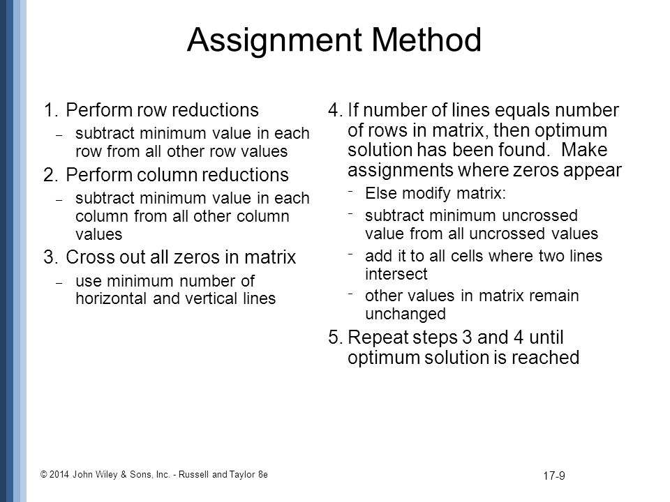 Assignment Method Perform row reductions Perform column reductions