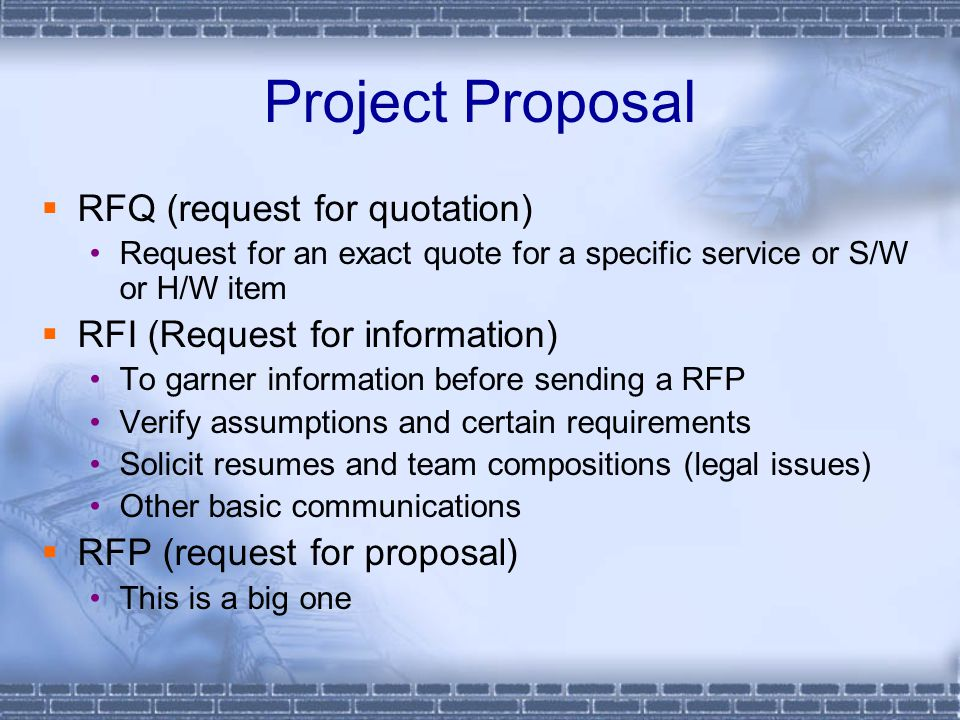 Project Proposal RFQ (request for quotation)