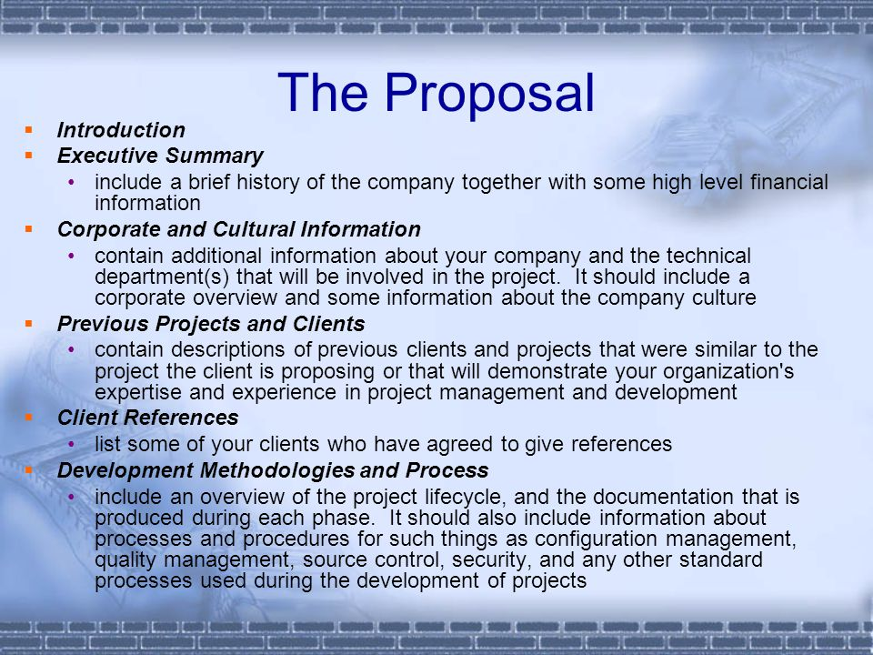 The Proposal Introduction Executive Summary