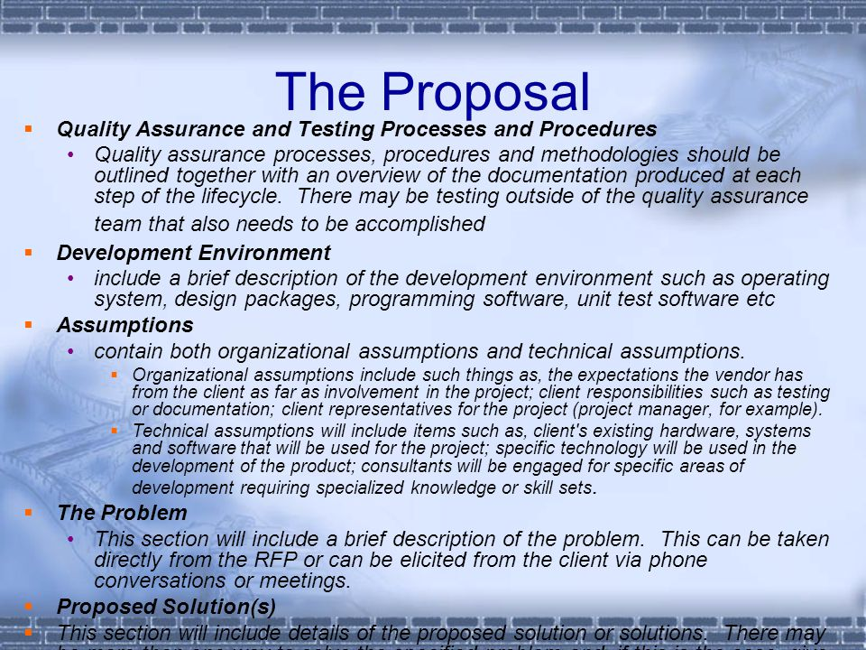 The Proposal Quality Assurance and Testing Processes and Procedures
