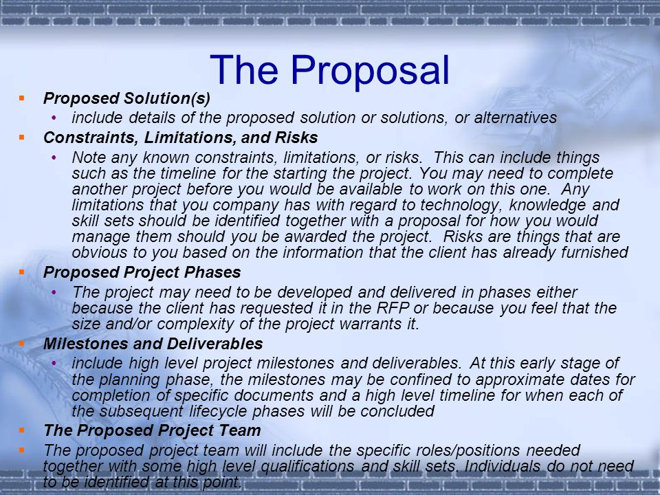 The Proposal Proposed Solution(s)