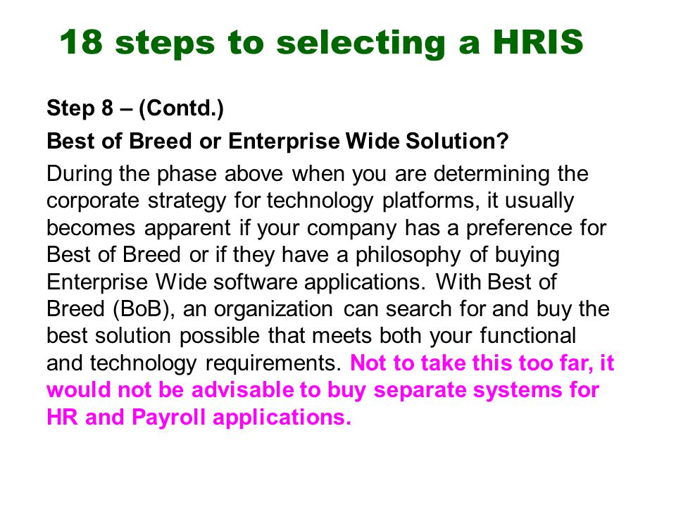 Steps To Selecting A Hris Ppt Download