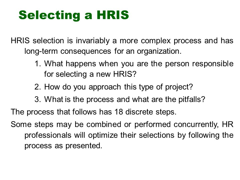 18 steps to selecting a human resource information system - Lawson Hris System