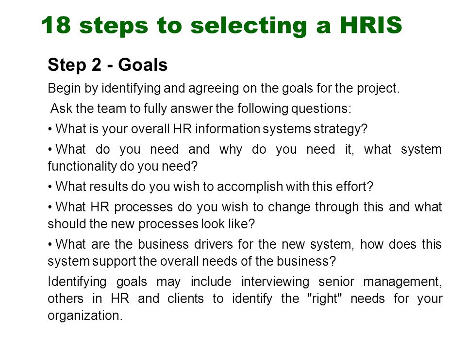 18 steps to selecting a hris - Lawson Hris System