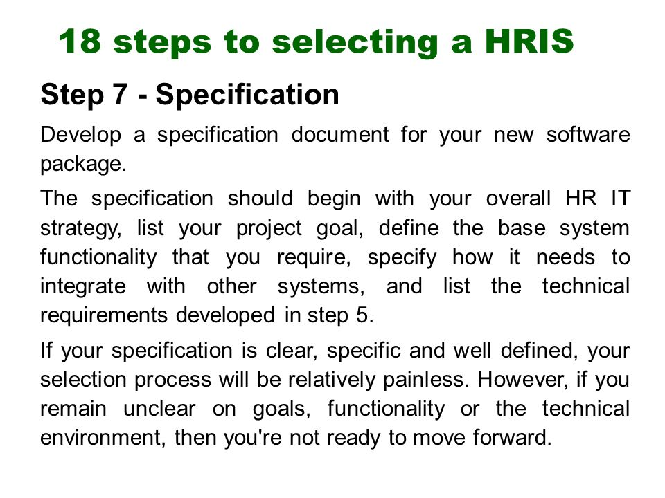 18 steps to selecting a hris