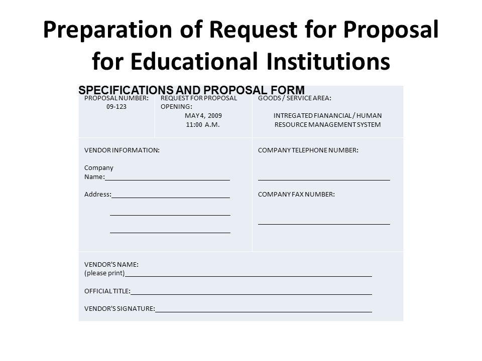 Preparation of Request for Proposal for Educational Institutions ...