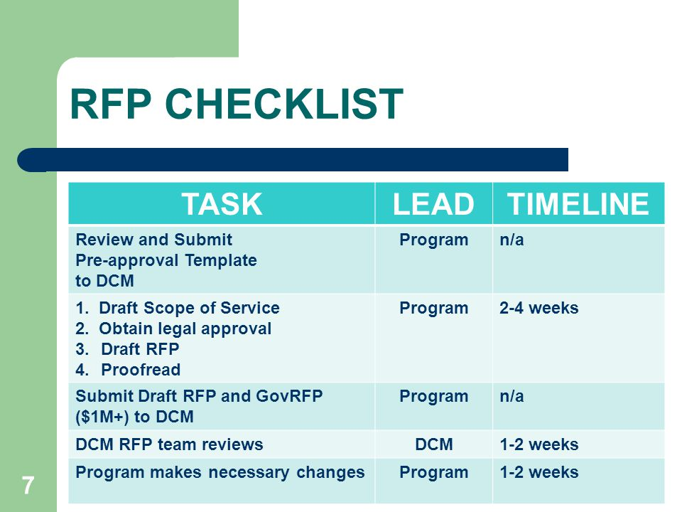 Dhhs procurement process reform ppt video online download for Rfp timeline template