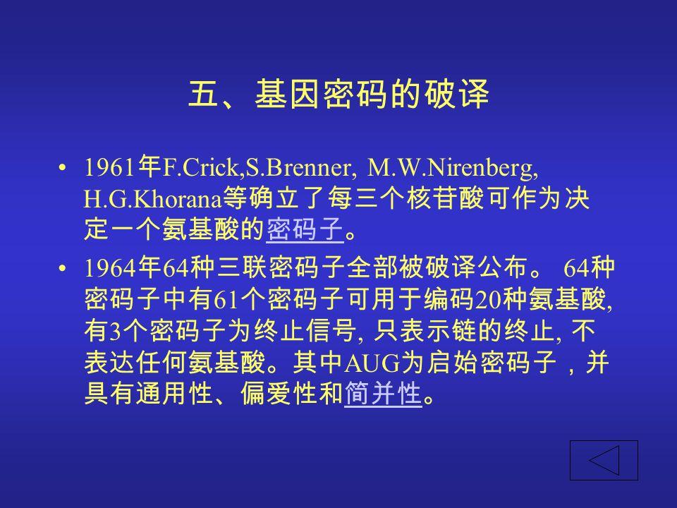 五、基因密码的破译 1961年F.Crick,S.Brenner, M.W.Nirenberg, H.G.Khorana等确立了每三个核苷酸可作为决定一个氨基酸的密码子。