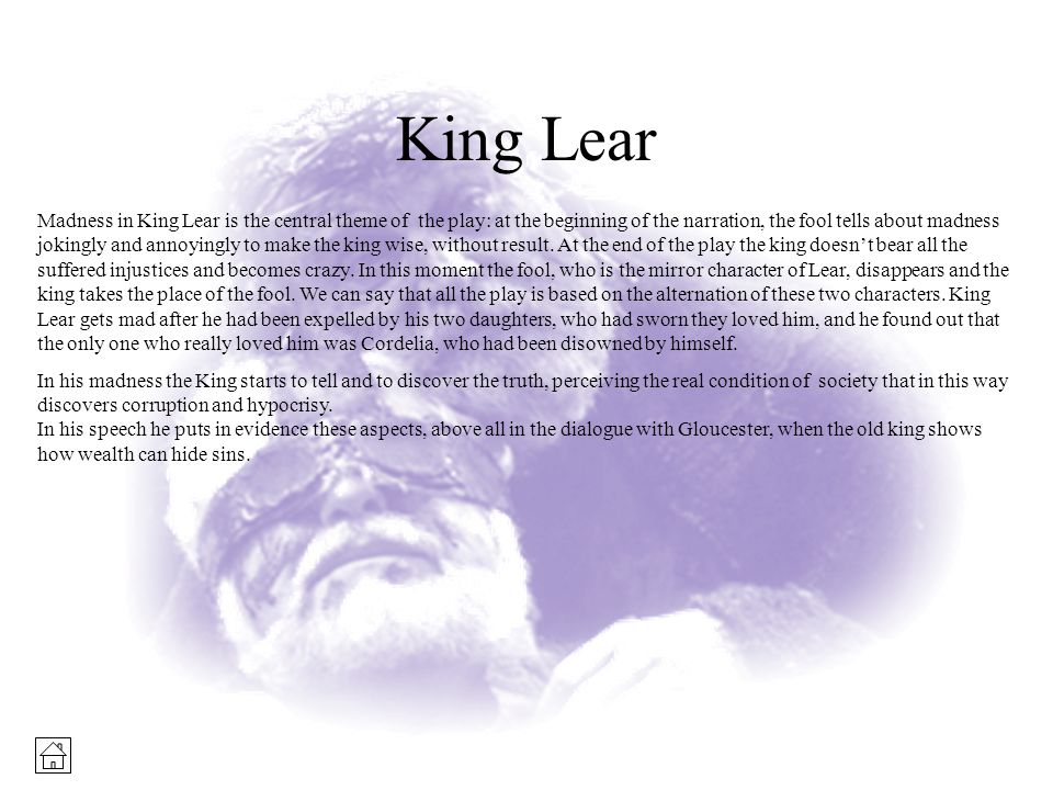 transformations in king lear essay Shakespeare's fools: touchstone in as you like it from the fools of shakespeare by frederick warde as by the fool in king lear, yet he is not lacking in.