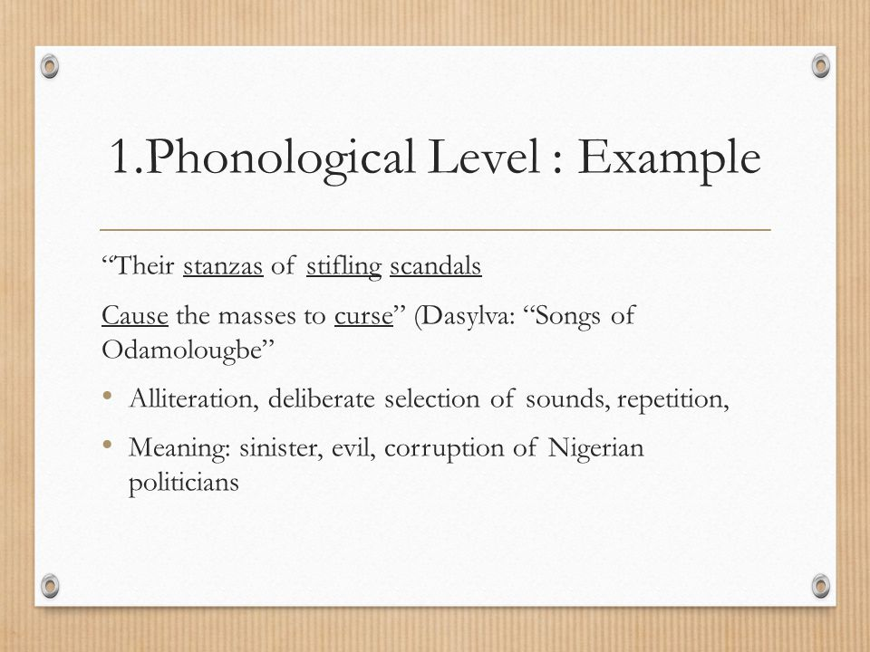 1.Phonological Level : Example