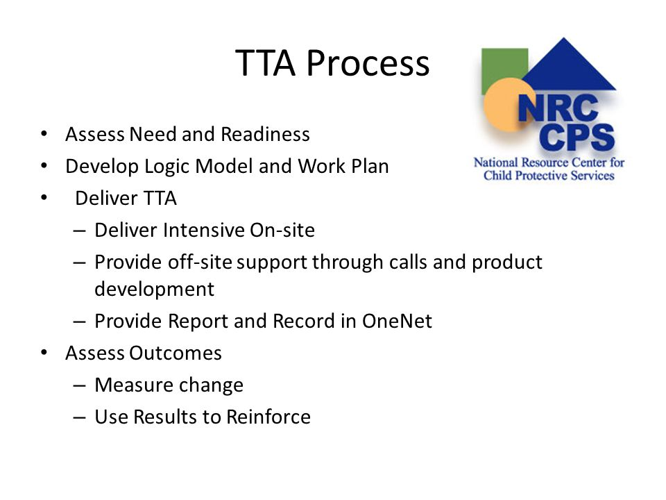 TTA Process Assess Need and Readiness