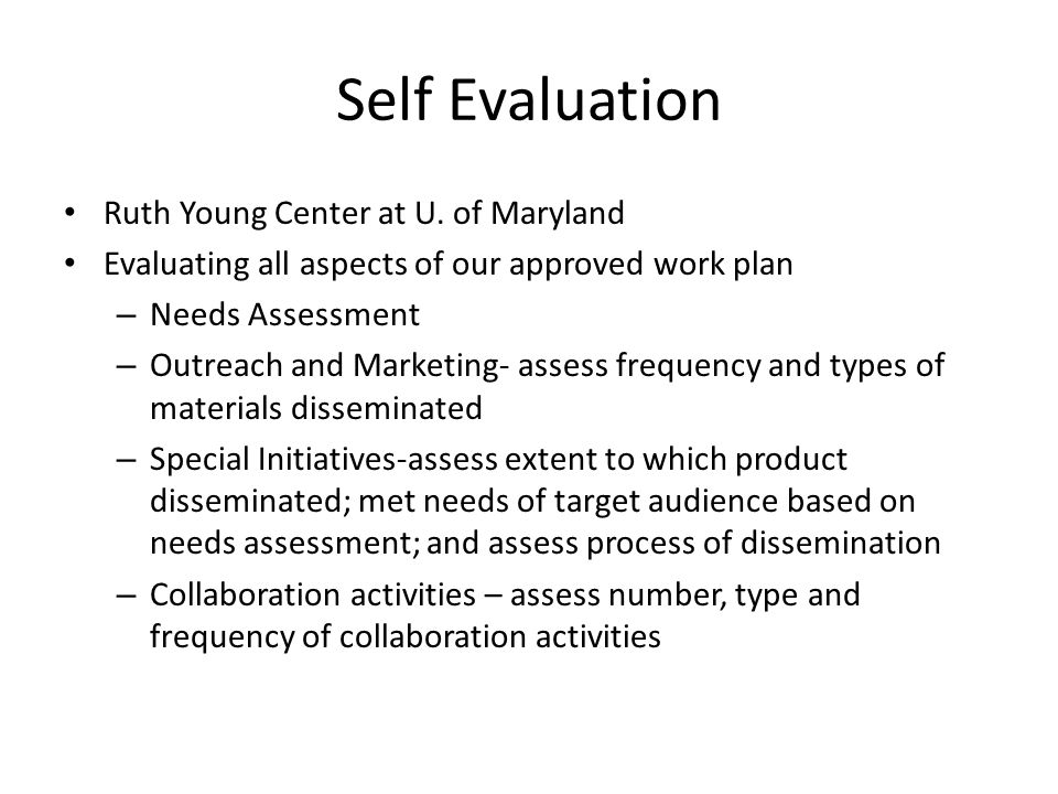 Self Evaluation Ruth Young Center at U. of Maryland