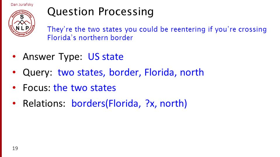 Question Processing They're the two states you could be reentering if you're crossing Florida's northern border