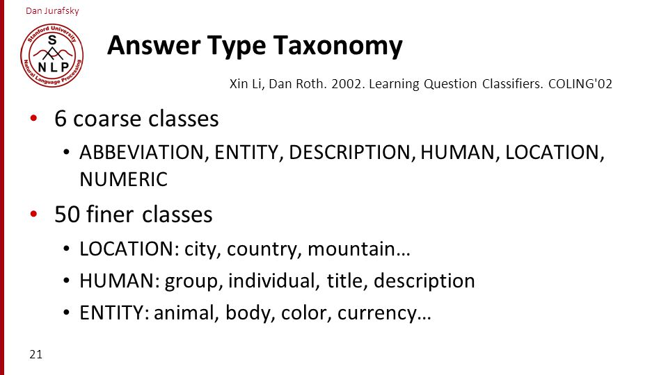 Answer Type Taxonomy 6 coarse classes 50 finer classes