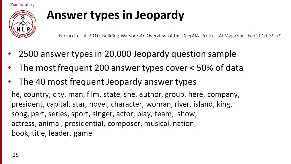Answer types in Jeopardy