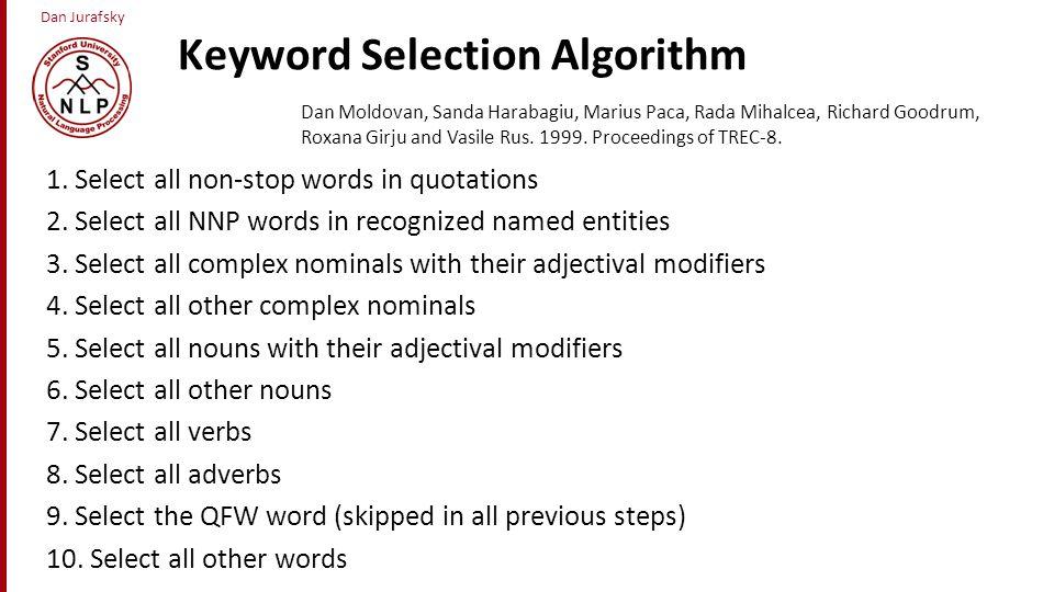 Keyword Selection Algorithm
