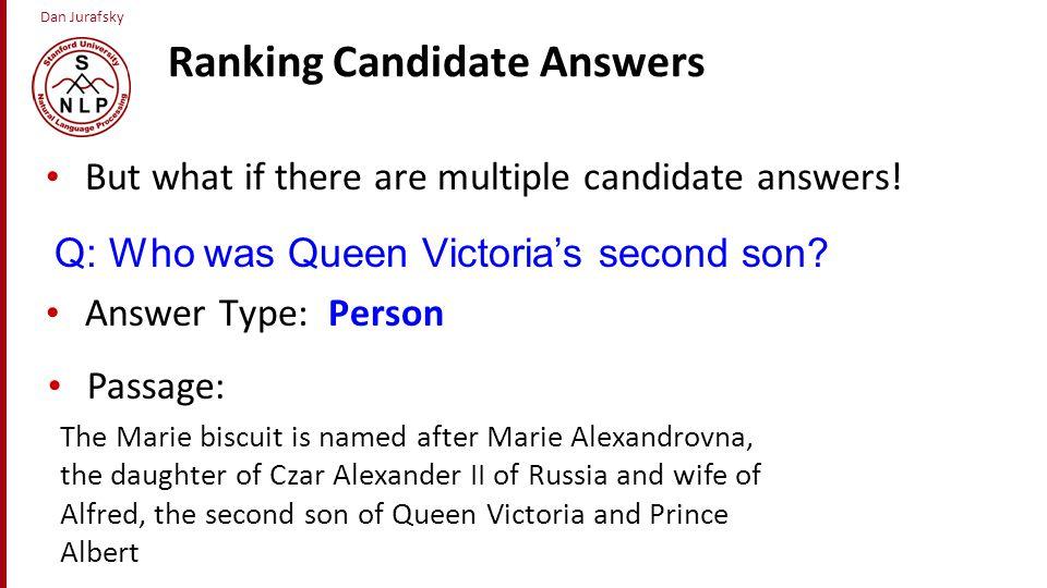 Ranking Candidate Answers