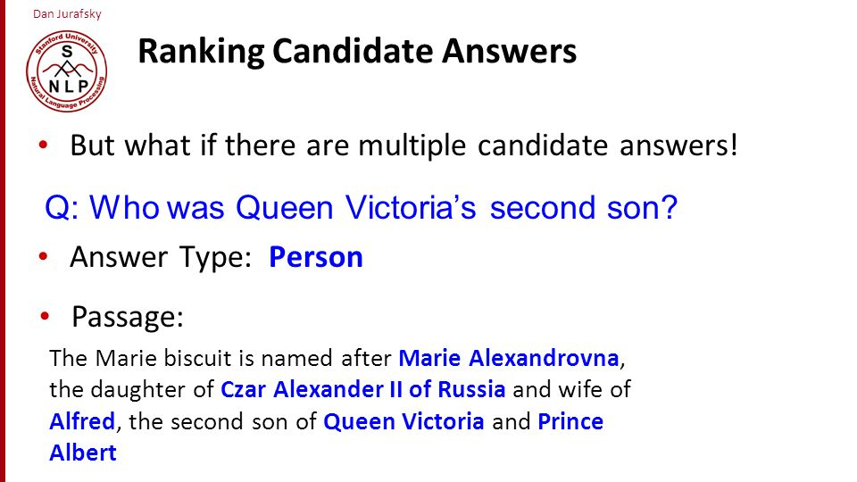 Ranking Candidate Answers