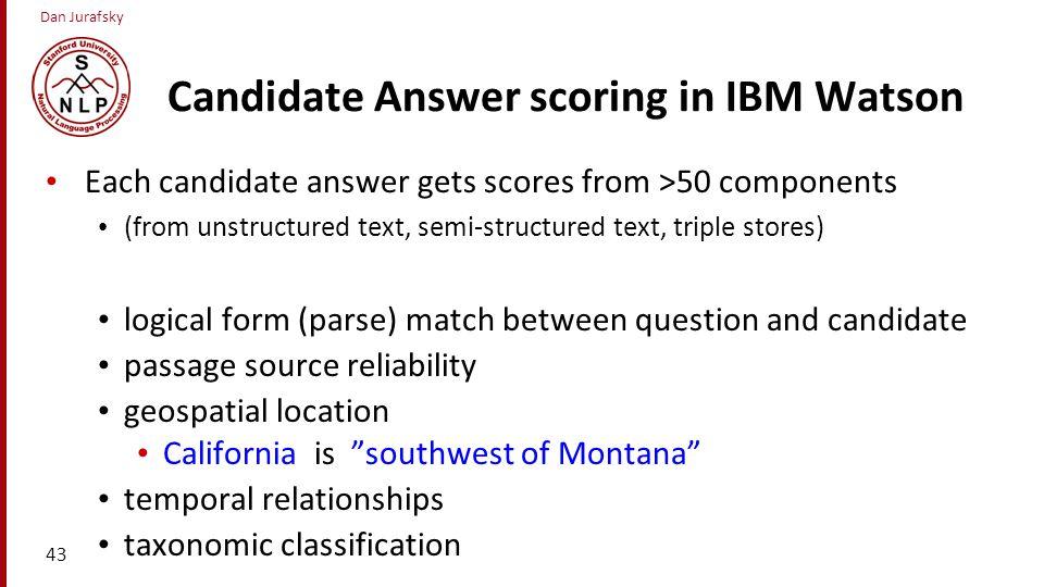 Candidate Answer scoring in IBM Watson