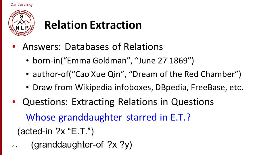 Relation Extraction Answers: Databases of Relations