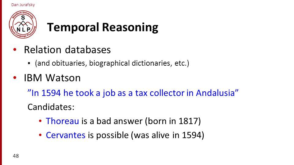 Temporal Reasoning Relation databases IBM Watson