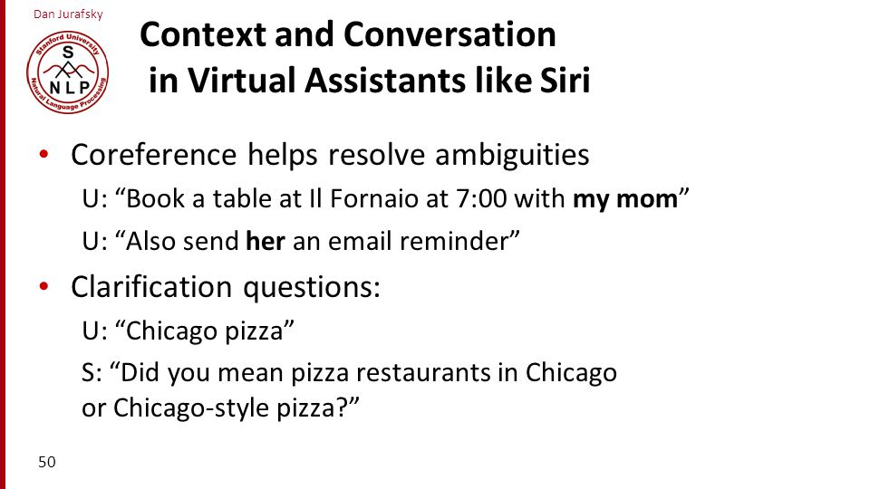 Context and Conversation in Virtual Assistants like Siri
