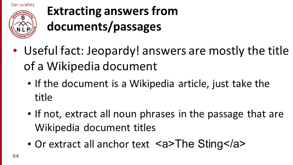 Extracting answers from documents/passages