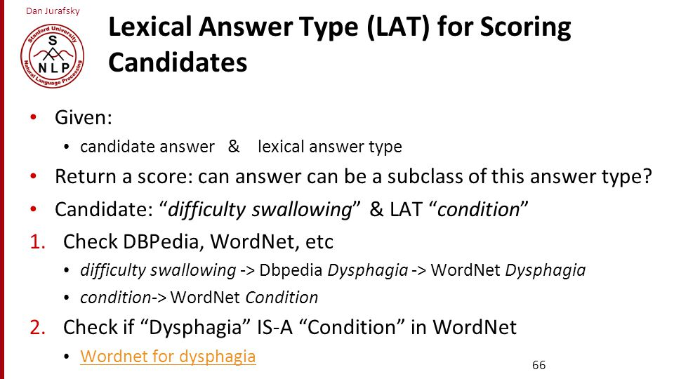Lexical Answer Type (LAT) for Scoring Candidates