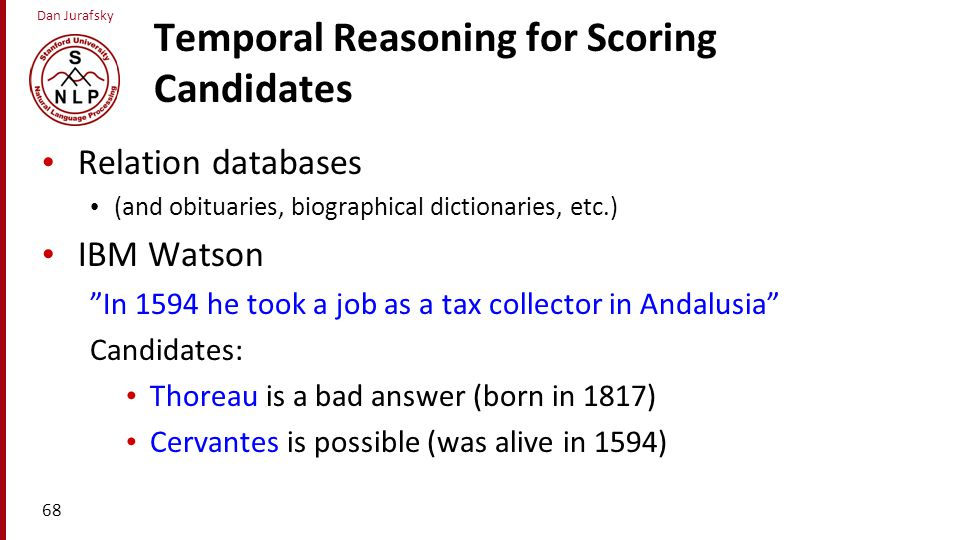 Temporal Reasoning for Scoring Candidates