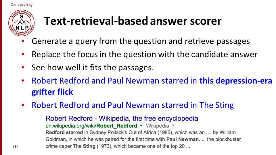 Text-retrieval-based answer scorer