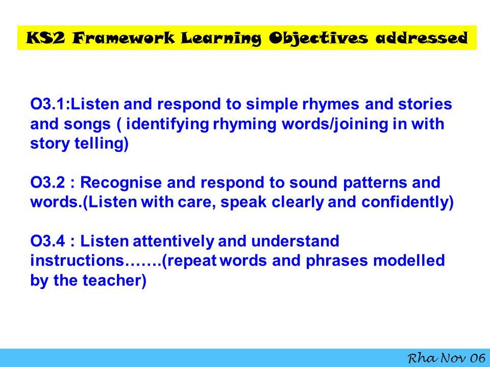 KS2 Framework Learning Objectives addressed