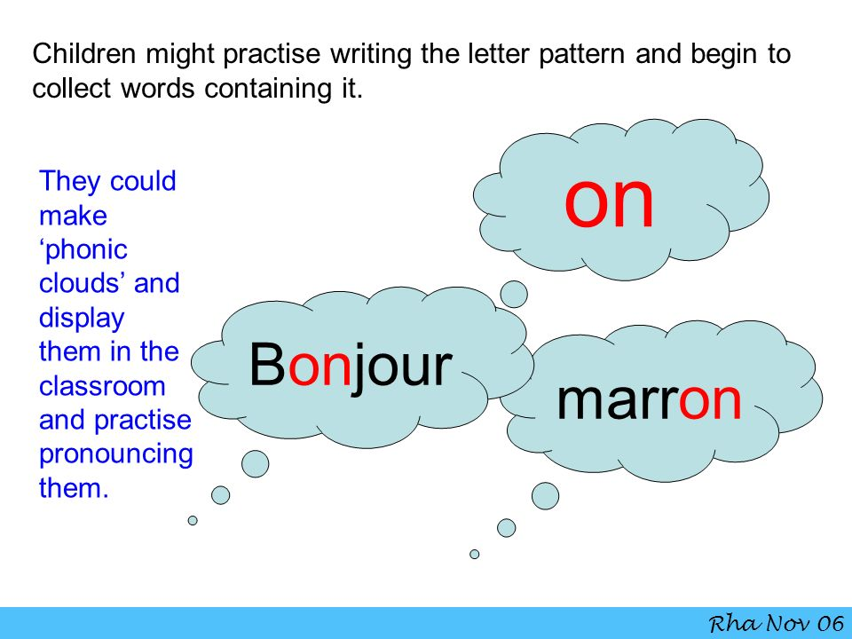 Children might practise writing the letter pattern and begin to collect words containing it.