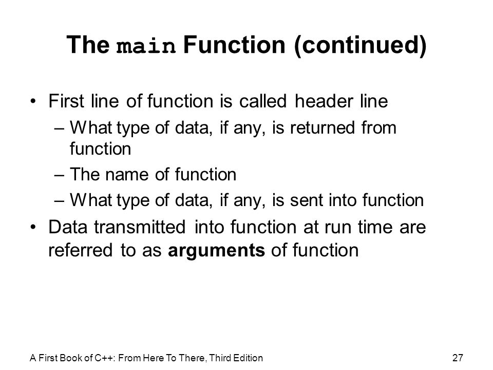 The main Function (continued)
