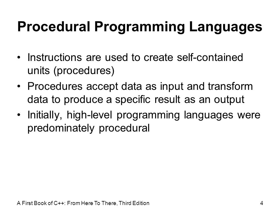 Procedural Programming Languages