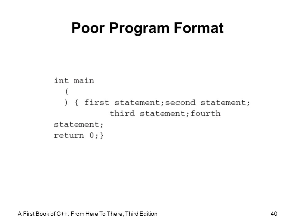 Poor Program Format A First Book of C++: From Here To There, Third Edition